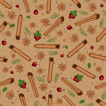 cranberries: Christmas winter spice with cranberries. Decorative vector seamless pattern. Mulled wine theme Illustration