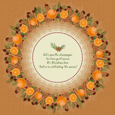 good wishes: Christmas wreath made of cinnamon, mandarin, anise, cranberries and spruce branches. In the center of New Years good wishes