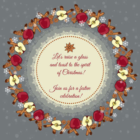 good wishes: Christmas card. Decorated with a wreath of cinnamon sticks, star anise, ripe apples and snowflakes. With good wishes to the center Illustration