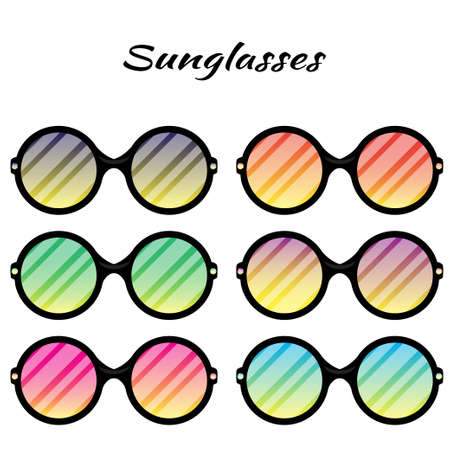 Sunglasses with colored glasses on a white background.