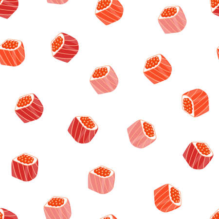 Seamless background with tasty rolls and sushi.