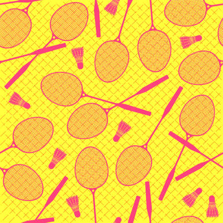 shuttlecock: Lets play badminton. Seamless background of badminton rackets and shuttlecocks. Pattern. Illustration