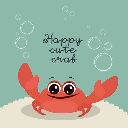 Happy cute crab. Merry postcard on a blue background.