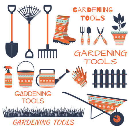 A set of tools for gardening on a white background. Illustration