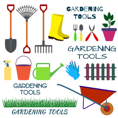 pitchfork: A set of tools for gardening on a white background. Illustration