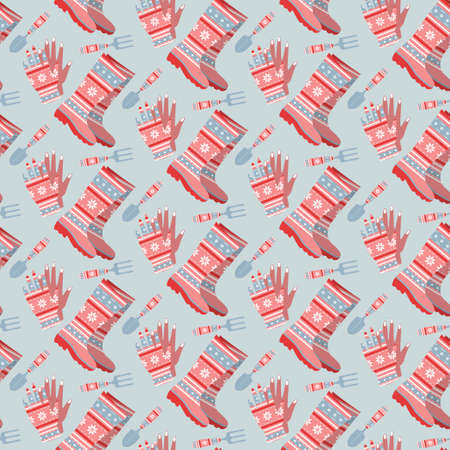 Seamless background from tools for gardening. Pattern. Illustration