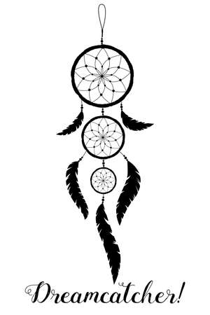 American Indians amulet. Dream catcher with feathers and beads on a white background. Boho style. Ilustracja