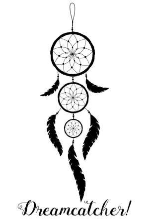 Indiani amuleto americano. Collettore di sogno con piume e perline su uno sfondo bianco. stile Boho.
