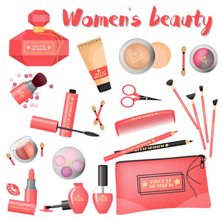 A set of different cosmetics on a white background. Illustration