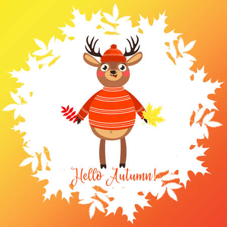 Hello Autumn. Lovely bright card with a deer.