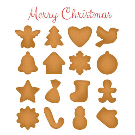 Set of christmas gingerbread cookies on a white background.