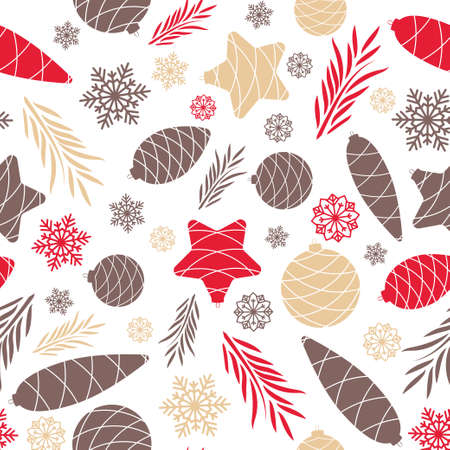 Happy Holidays Seamless background with Christmas tree toys. Pattern. Illustration