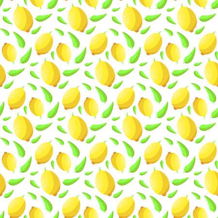 Seamless background of citrus fruits. Pattern of lemons.