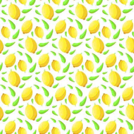 Seamless background of citrus fruits. Pattern of lemons.