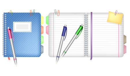 Stationery accessories. Notebook with staples and a bookmark and three pens.