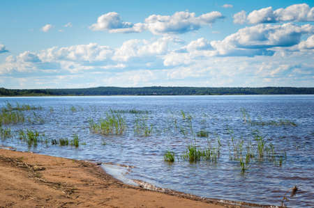 Blue sky with Cumulus clouds over the Lake Ladoga shore.