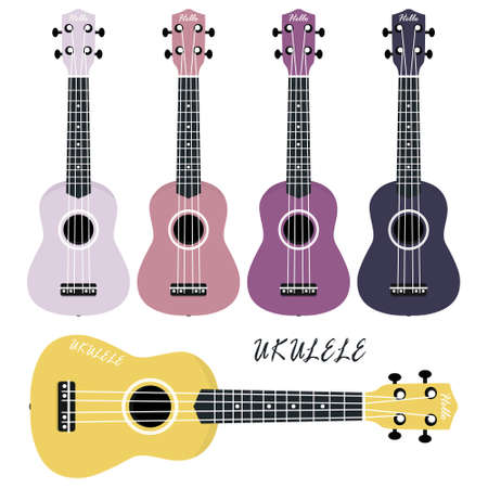 Five multi-colored ukulele on a white background. Musical instruments.