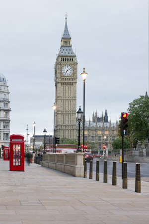 View of Big Ben with red phone booth