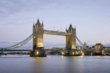 Tower Bridge at night, London, United Kingdom Stock Photo