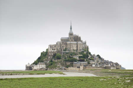 The way to the  Mont Saint Michel, the second most visited tourist attraction of france after the Eiffel tower Stock Photo