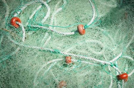 Green fishing nets, Fishing net detail Stock Photo