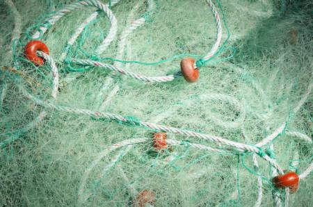 commercial fishing net: Green fishing nets, Fishing net detail Stock Photo