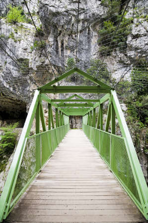 Wood bridge through the mountain in The Cares Route, Spain