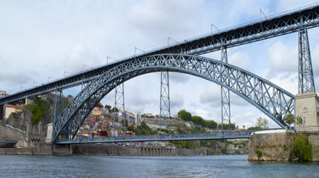 rabelo: view of Dom Luis I bridge at Porto, Portugal