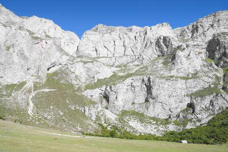 picos: Picos de Europa Mountain in North Spain. Blue sky