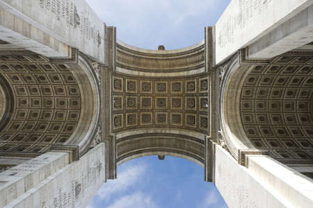 Paris, Famous Arc de Triumph. Detail of Arc de Triomphe aka Arch of Triumph, Paris, France.