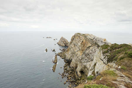 dyllic: The end of the world  Beautiful cliffs at Spanish coastline, Asturias, Cabo Peñas Stock Photo