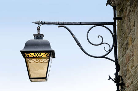 Vintage lantern against blue sky  Street lamp from the forged metal Stock Photo - 16496845
