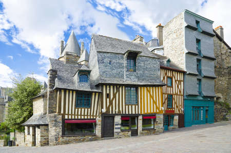 Medieval french houses, Brittany style of houses. Colorful medieval houses in Vitré, Brittany, France. Stock Photo