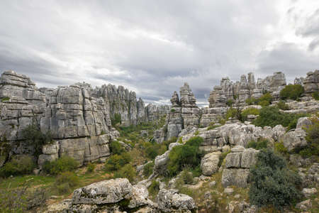 Limestone Rock formations in Antequera, Spain.Karst Rock formations, El Torcal Nature Reserve, located in Antequera, Malaga, Spain
