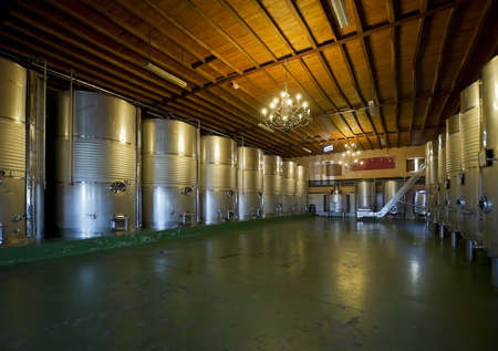 Modern winery, interior. A row of fermenters inside a modern winery