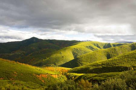 populate: Sunlight on the hills.Shafts of sunbeams illuminating the lush green hills that populate this broad valley.