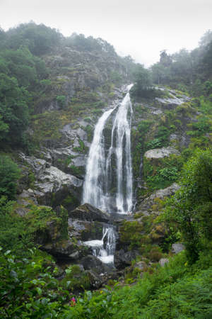 Mountain Waterfall  A gorgeous waterfall nestled in a Spanish forest  The name of the cascade es  Fervenza do Belelle