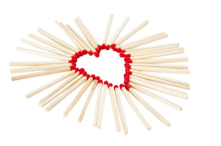 Love symbol, St Valentine day  Heart made of matches on white background Stock Photo