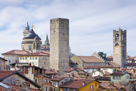 Italian architecture. Italian village, ancient buildings in Bergamoin Bergamo