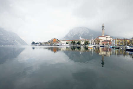 Italian village in Como Lake. Fortress in Lake Como in Italy, Lecco village in winter time