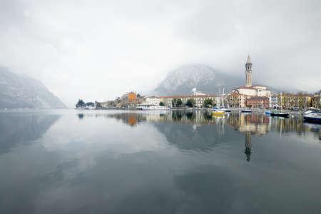 Italian village in Como Lake. Fortress in Lake Como in Italy, Lecco village in winter time