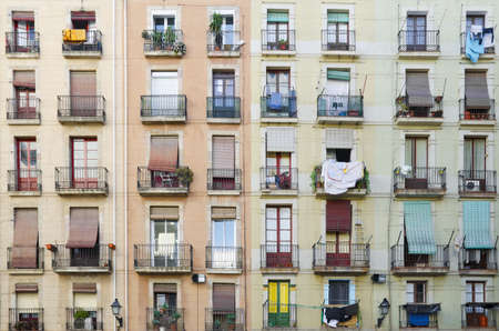 Old facade house  Old style windows with balcony, detail of some windows and balcony  Barcelona  Spain