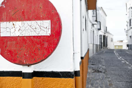 forbade: Round sign No Entry. Way street, old no entry signs, symbolic photo for traffic regulations, direction, clarity Stock Photo