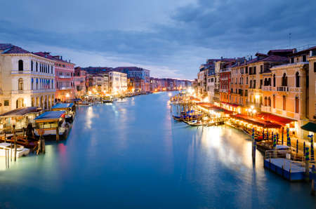 Venice, Italy   Beautiful Grand Canal view illuminated at dusk from Rialto Bridge, Venezia, Italy