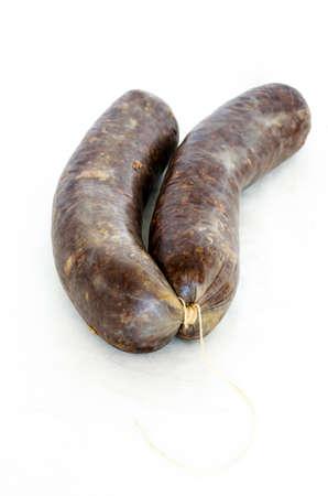 Spanish sausage made od blood and rice. Morcilla