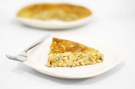 Fresh homemade Spanish tortilla  Omelet typical of Spanish cuisine with potatoes and onions   Selective Focus