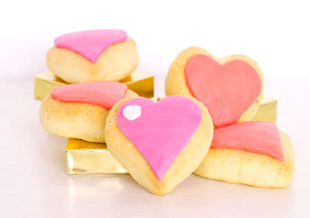 Valentines day cookies decorated with fondant Stock Photo