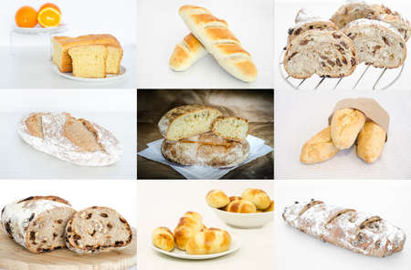 Collage of various bread, homemade breads Stock Photo