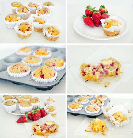 Strawberry muffins collage