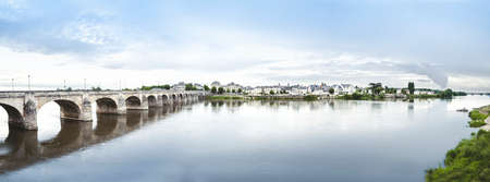 pays: Panoramic view of Loire River in Saumur, France